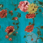 Stampa fiore vintage turchese